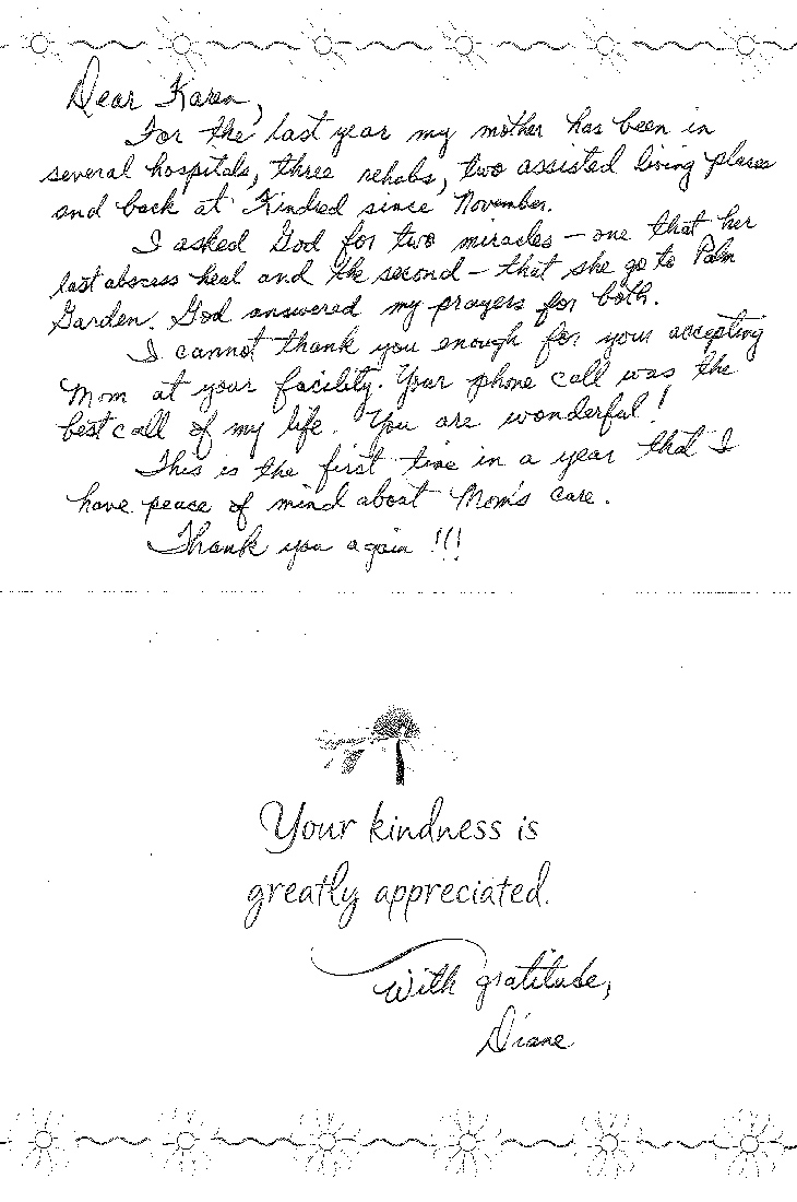 Testimonial from Diane thanking the Palm Garden staff for the care of her mother