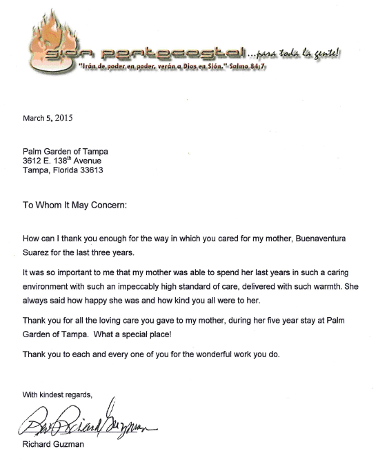 Testimonial letter from Richard Guzman thanking the staff for the care of his mother