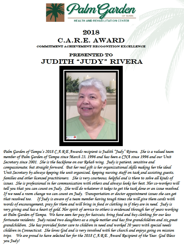 CARE Award 2018 recipient Judith