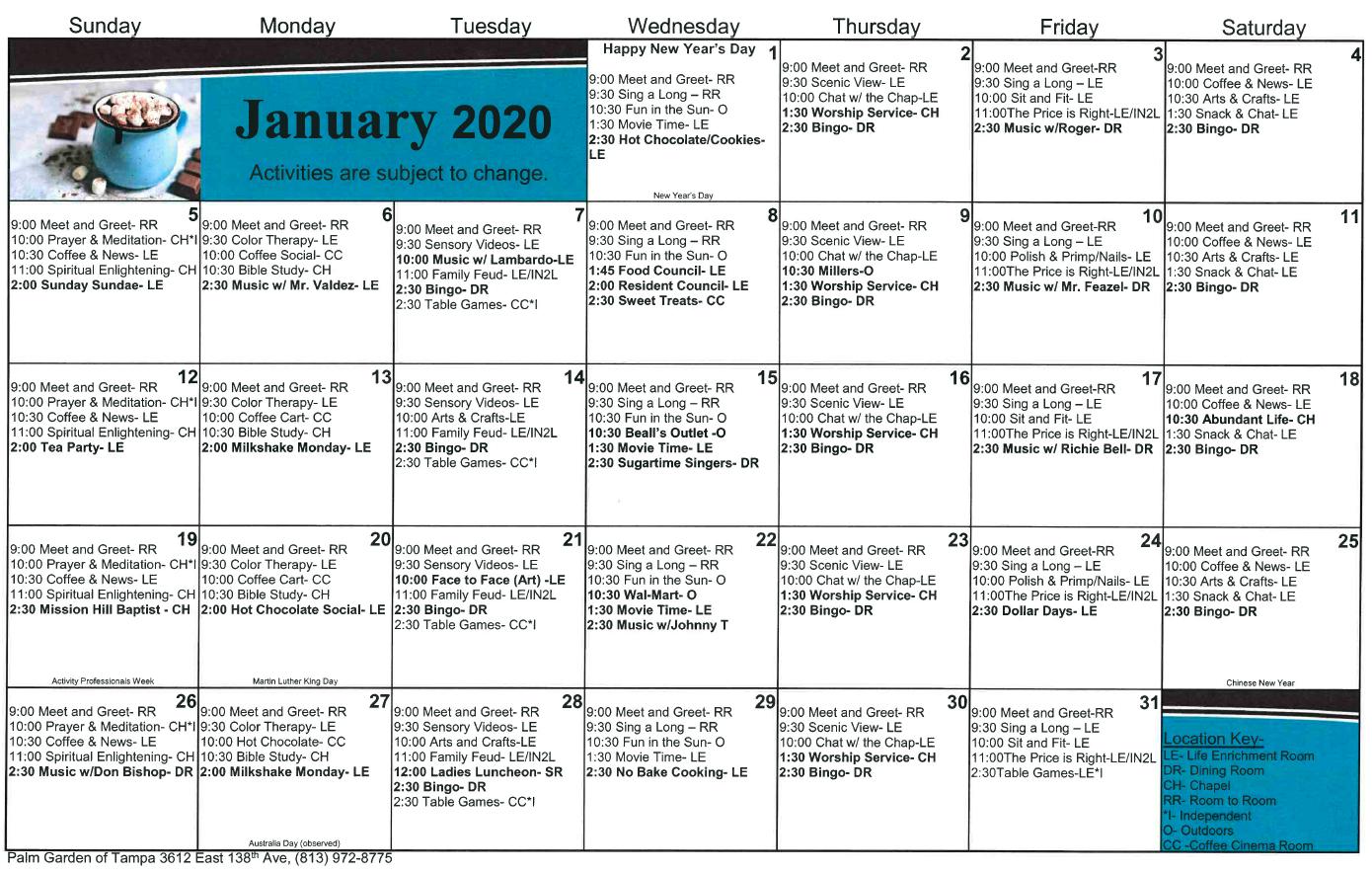 Tampa January calendar
