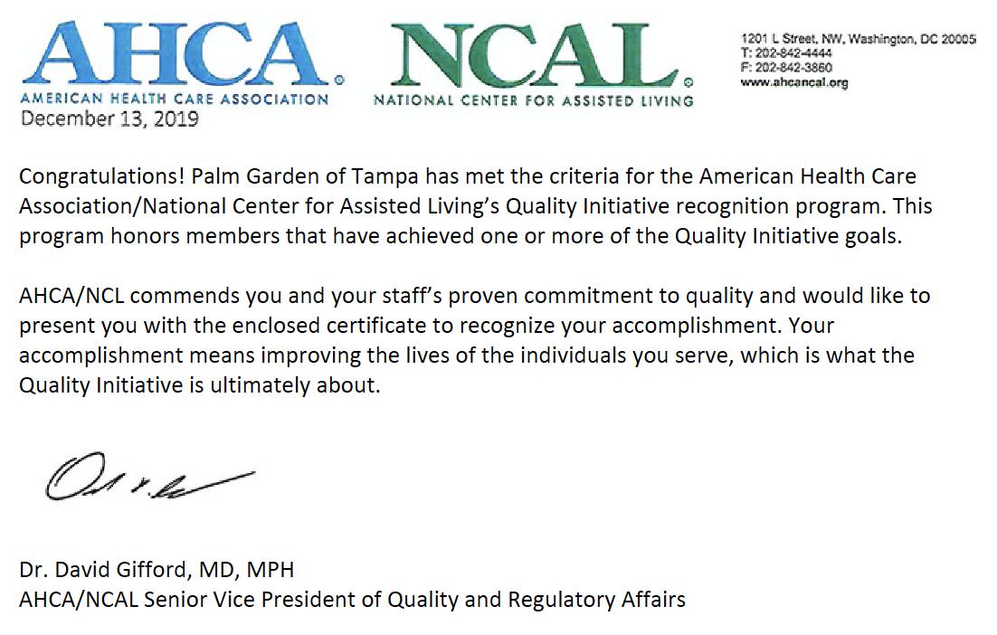 AHCA letter of congratulations