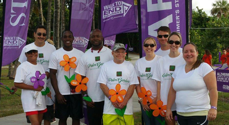 Palm Garden Port St Lucie staff members participating in the walk to end Alzheimer's