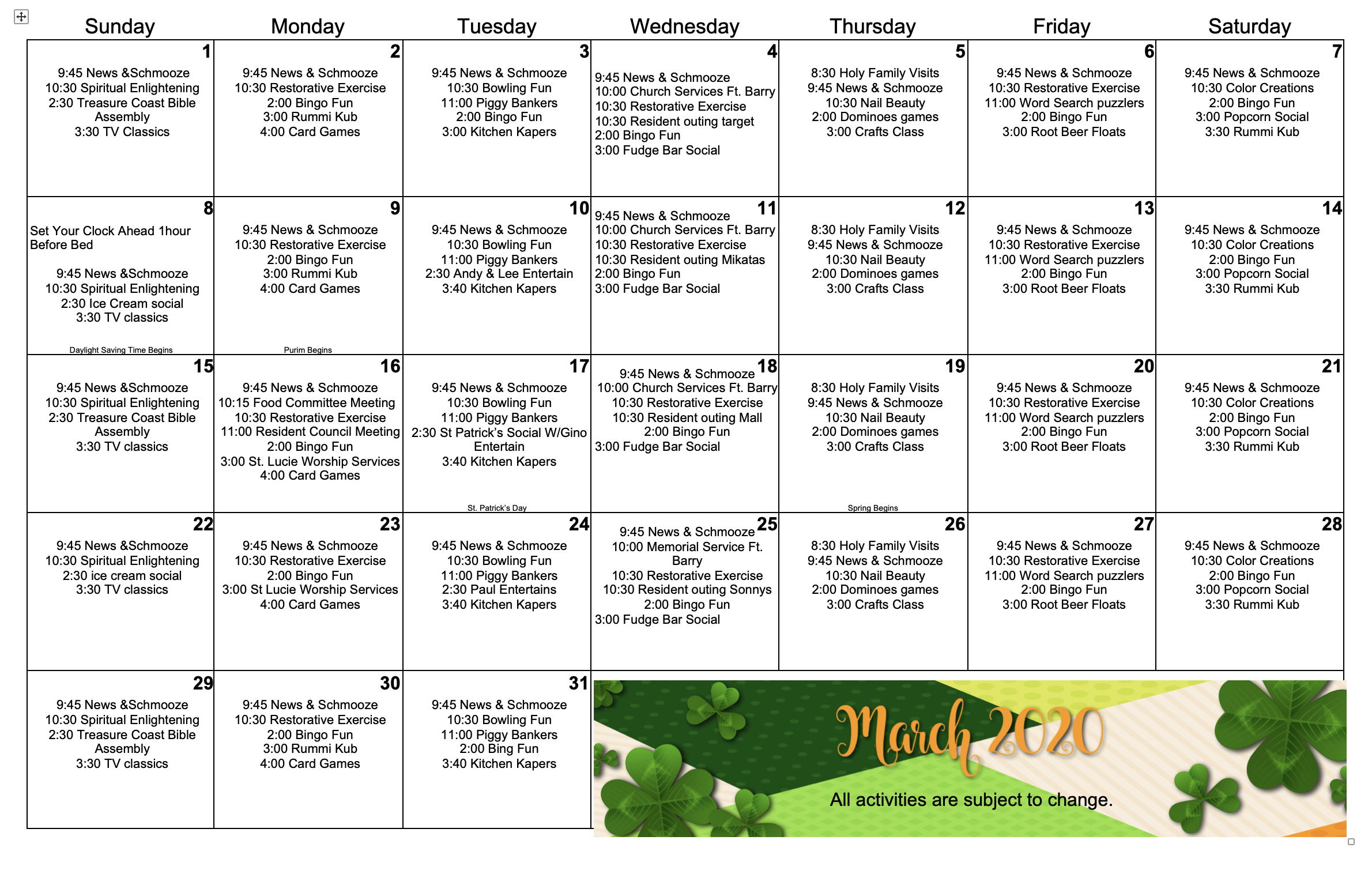 March 2020 activity calendar for Palm Garden of Port St. Lucie