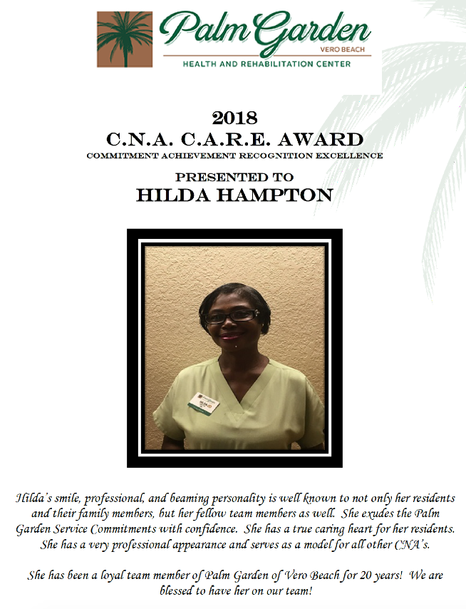 CNA Care Award 2018 recipient Hilda