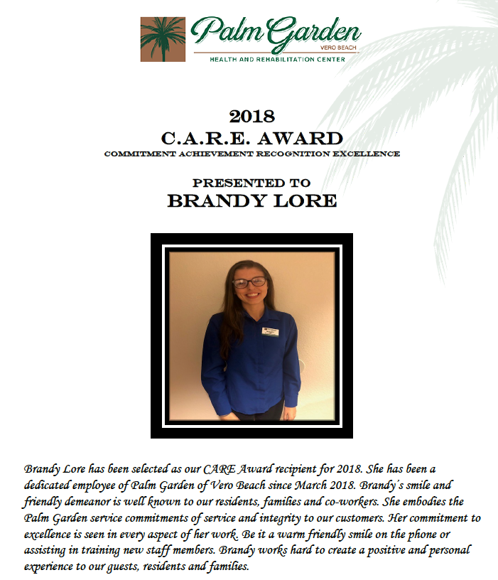 CARE Award 2018 recipient Brandy