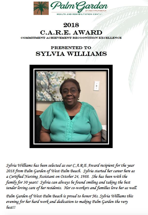 CARE Award 2018 recipient Sylvia