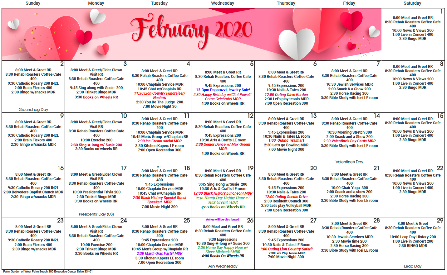 West Palm Feb calendar