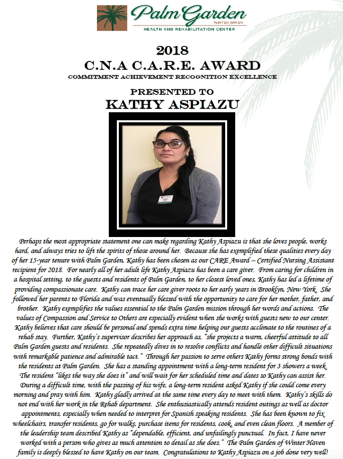 CARE Award 2018 recipient Kathy