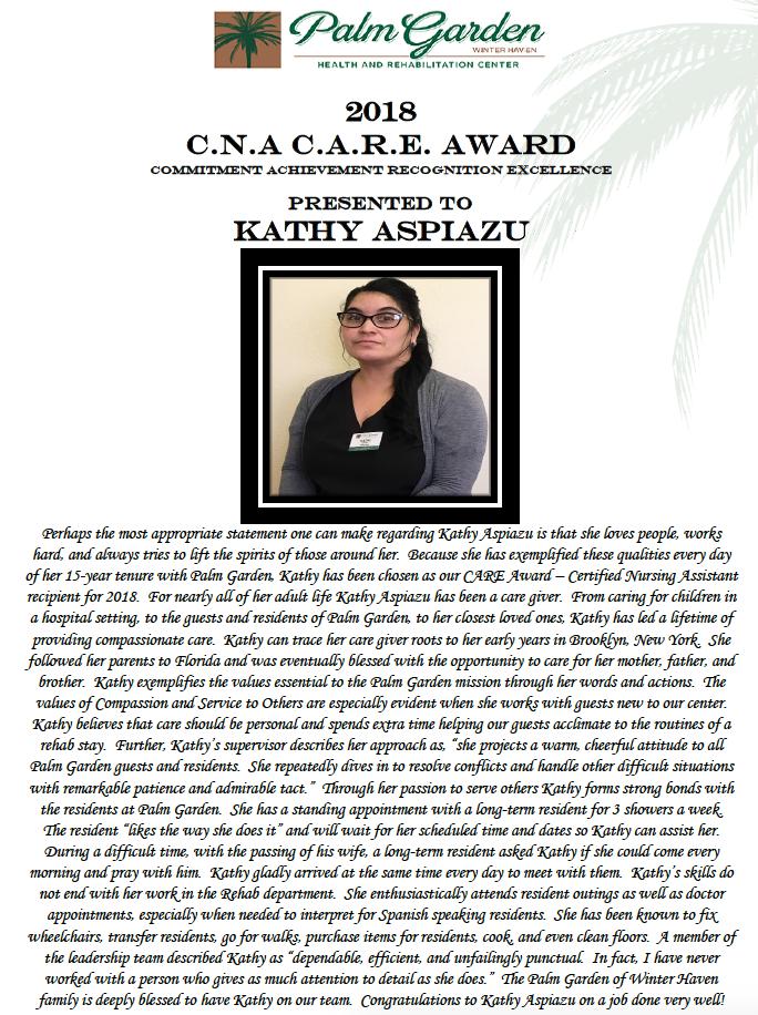 CARE Award 2018 recipient Kathy