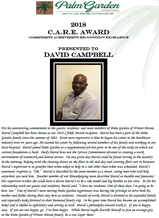 CARE Award 2018 recipient David