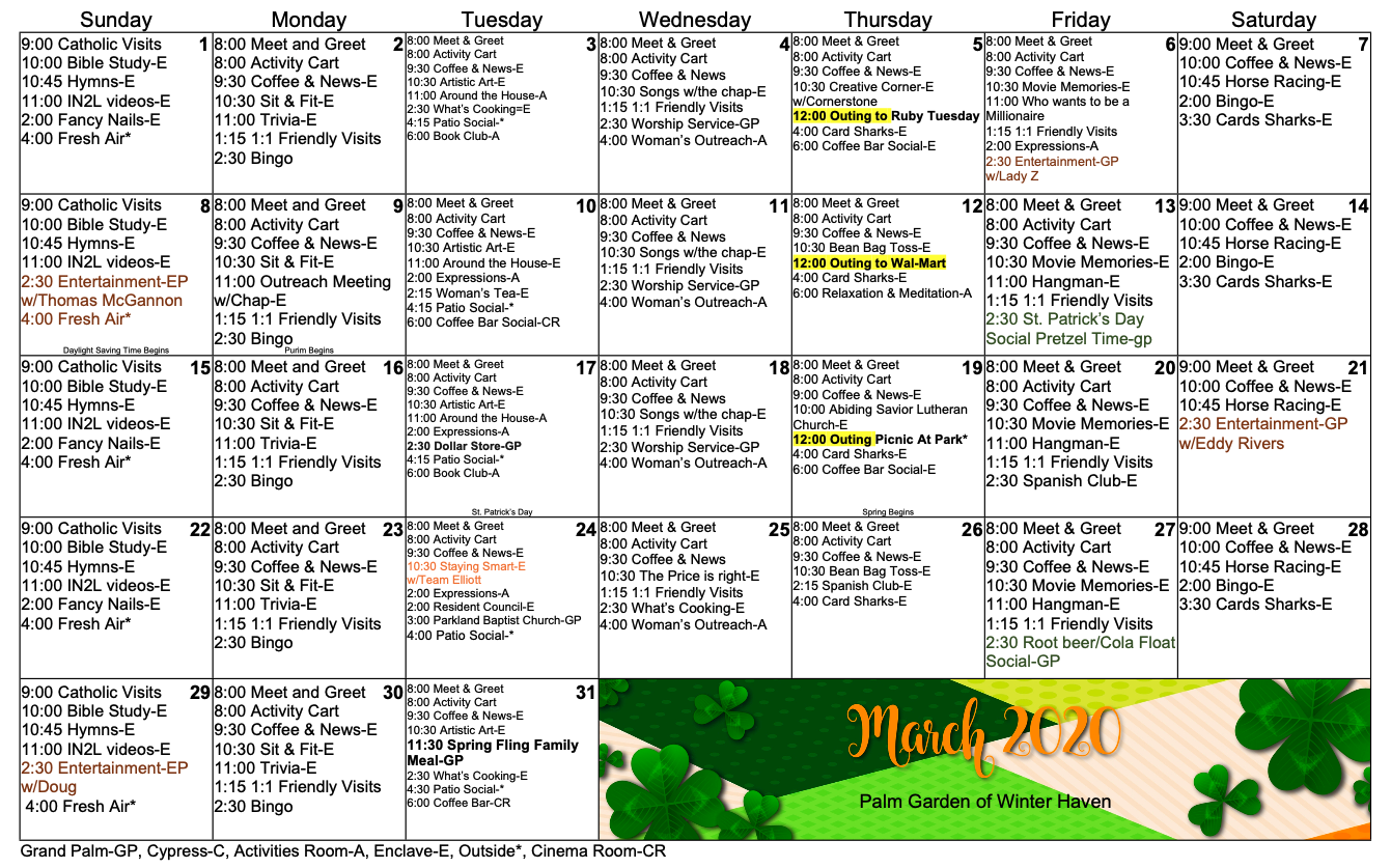 Palm Garden of Winter Haven March 2020 activity calendar