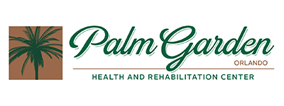 Palm Garden of Orlando Health and Rehabilitation Center logo with a palm tree beside it