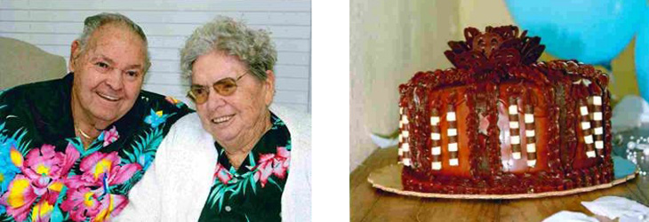 Mr. and Mrs. F celebrating their 64th wedding anniversary in Hawaiian shirts and enjoying a cake.