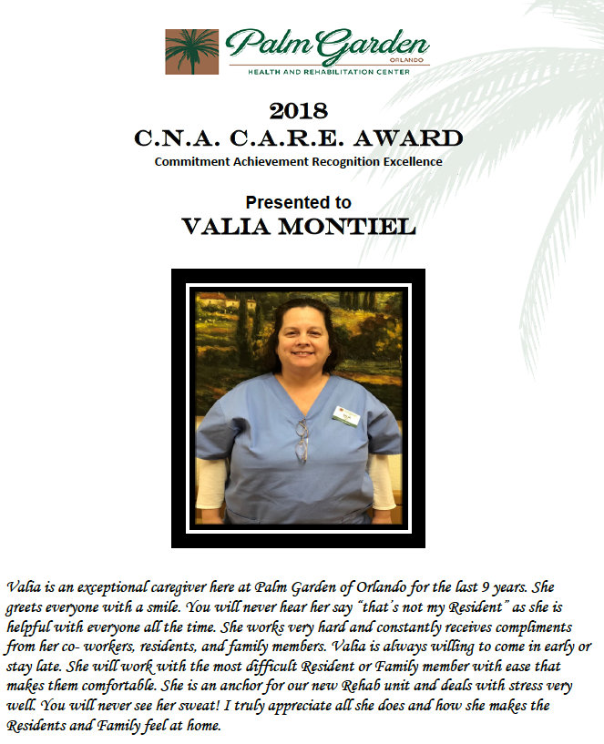 CNA CARE Award 2018 recipient Valia