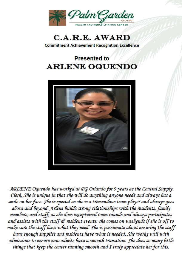 CARE Award 2018 recipient Arlene