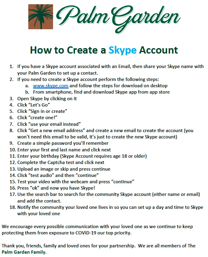 Skype Instructions
