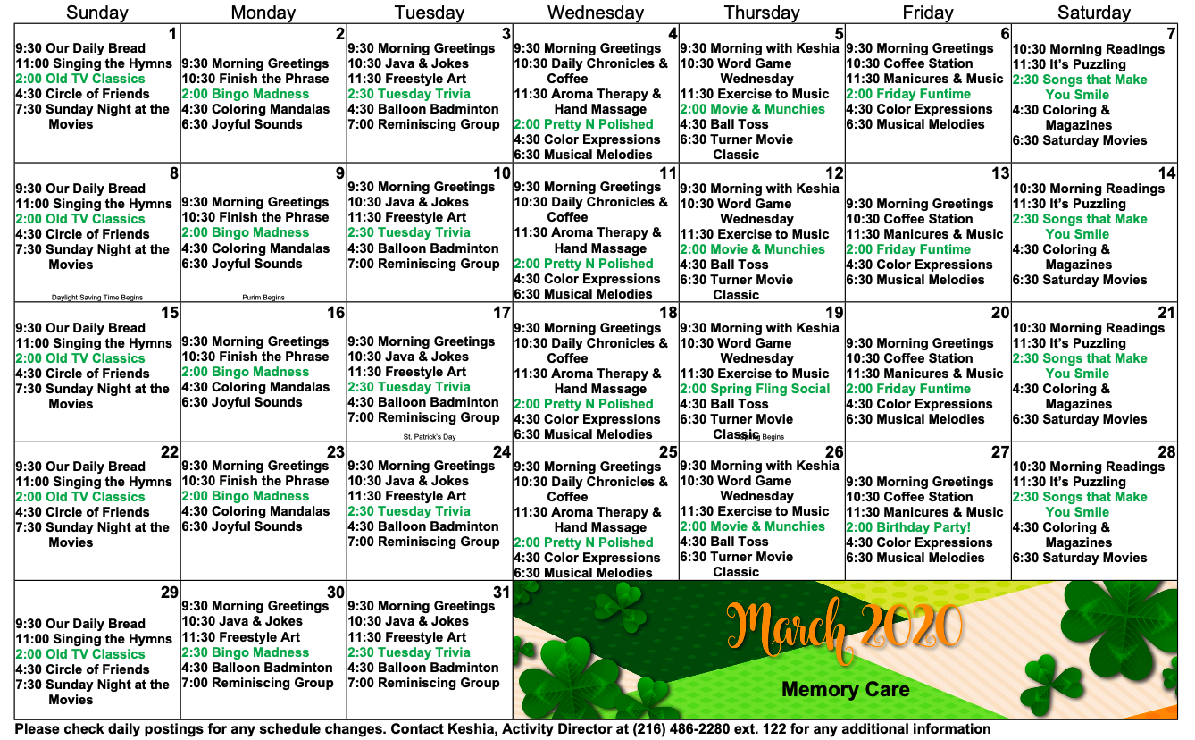 March Eastbrook activity calendar for our memory care unit