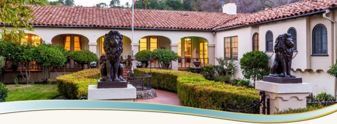 Lion sculpture in the garden at Foothill Home