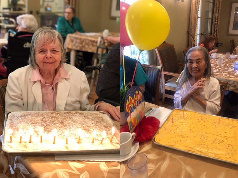 Residents thrilled to be celebrating their birthdays with cake and balloons