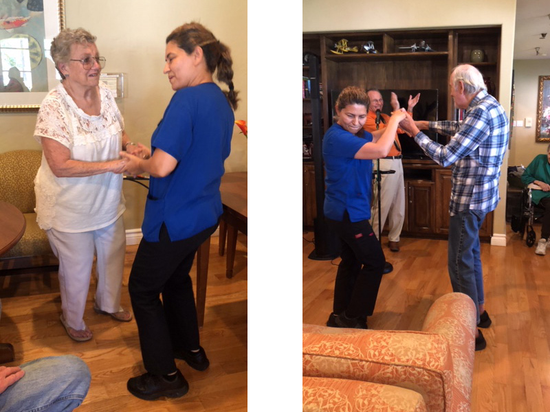 Dance party with the staff and residents