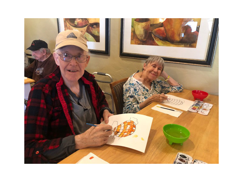 Residents exploring their watercolor talents