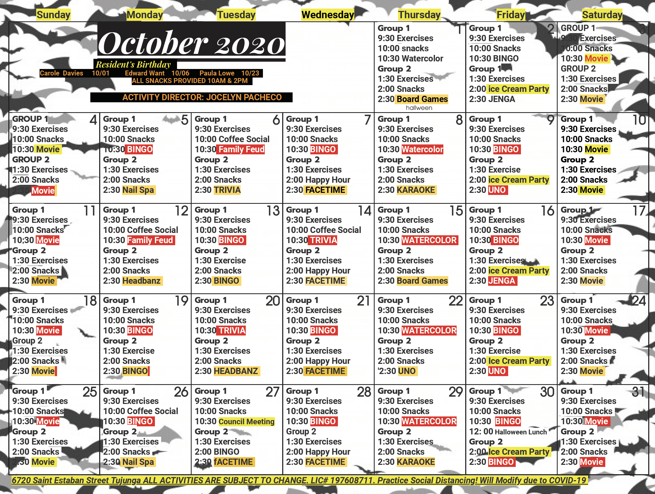 Foothill October Calendar