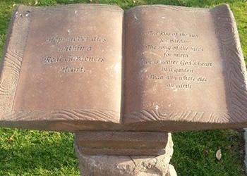 A statue of a book.