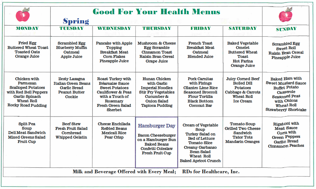 Spring Sample Menu
