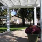 Outside pergola's offering shaded areas for relaxing and resting.