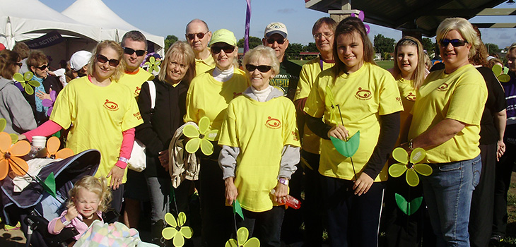 pleasant hill residents together wearing yellow shirts