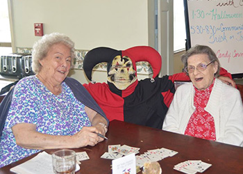 residents at a halloween party