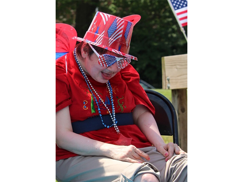Resident enjoying fourth of july celebration
