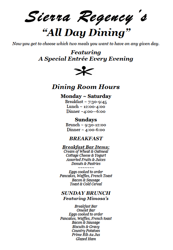 All Day Dining menu with hours of operation and food selections for each meal