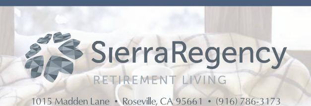 Sierra Regency Retirement Living Newsletter banner