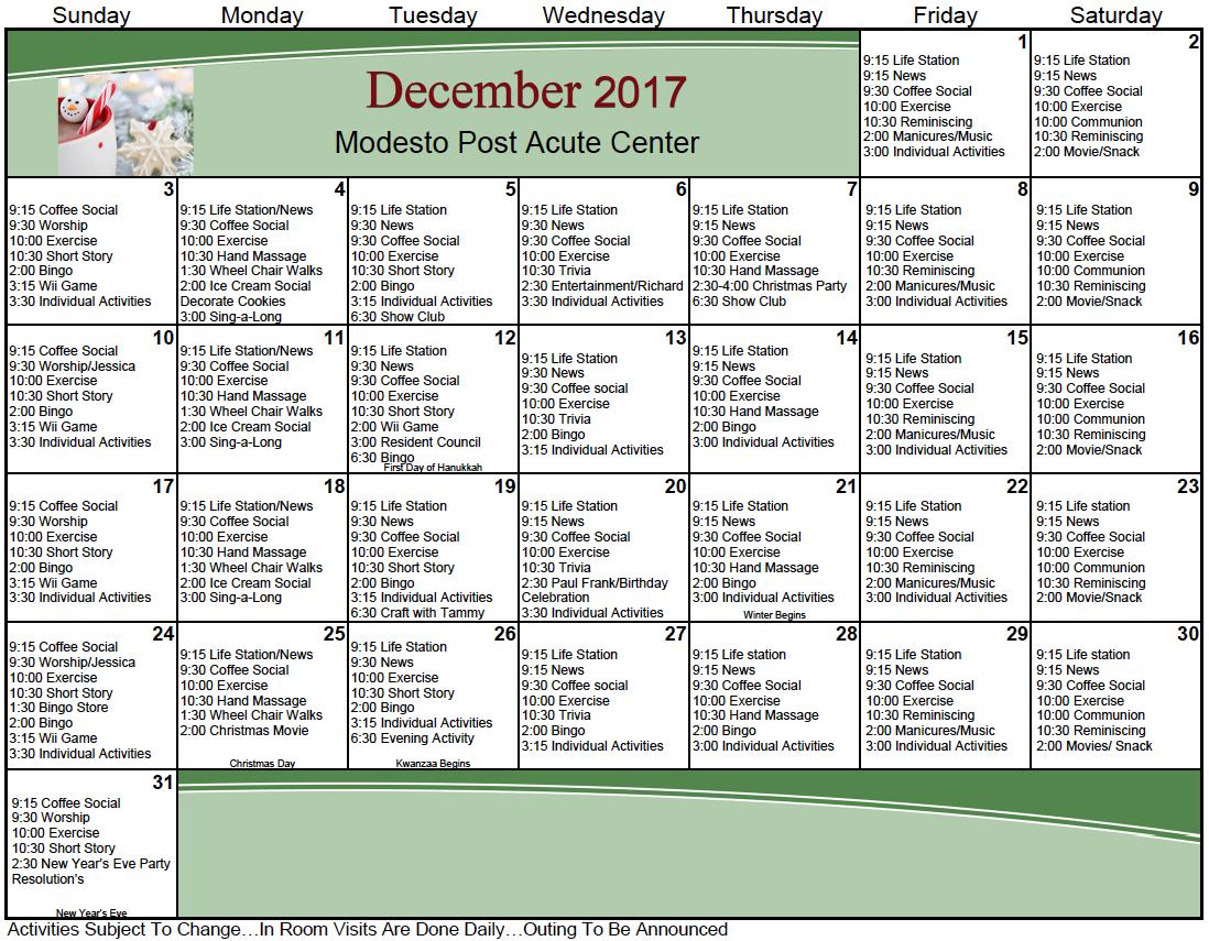 Modesto Post Acute December activity calendar