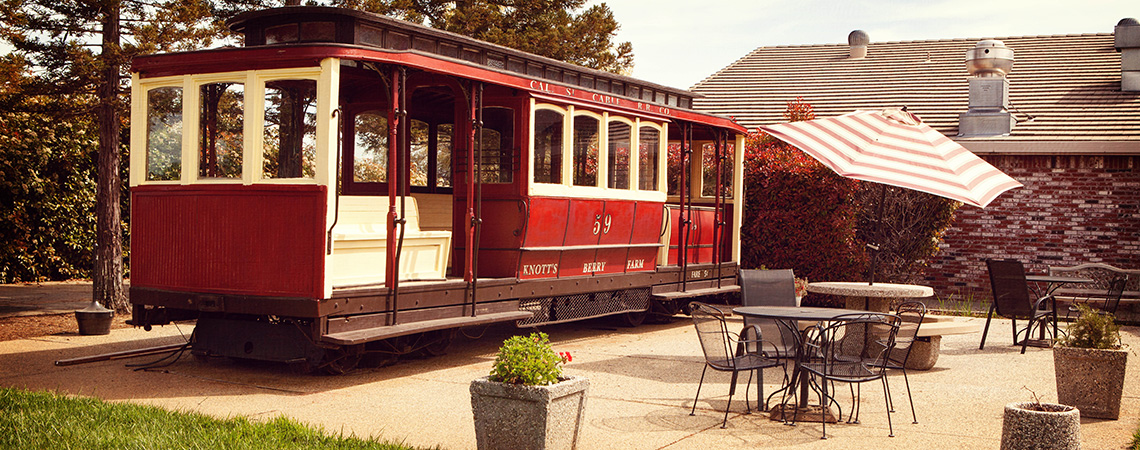Old Knott's Berry Farm Train caboose in the patio