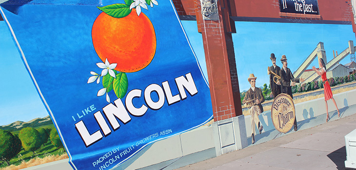 I like Lincoln sign and city graphics on a wall