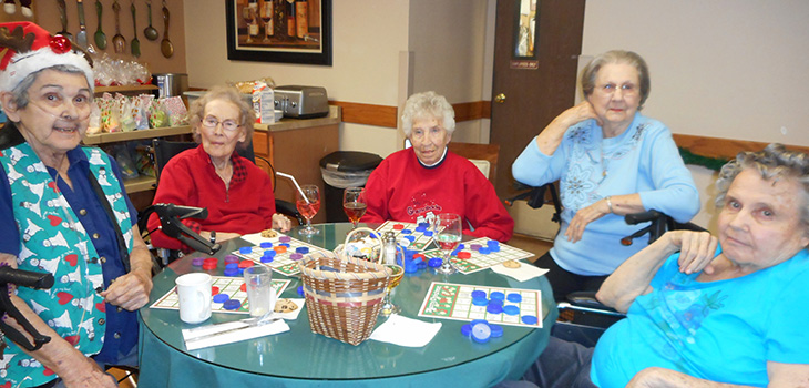 Residents playing a game of bingo together