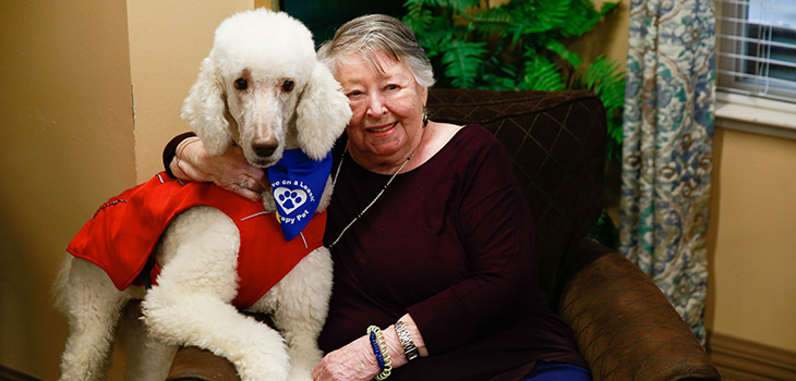 Resident sitting on a chair with a therapy dog