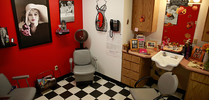 A beauty and barber area for residents to have their hair done