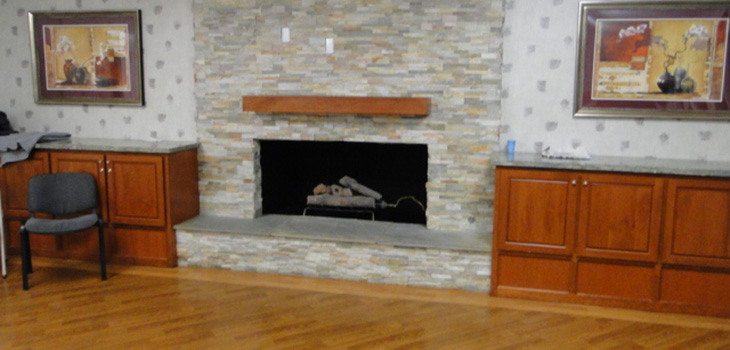 fireplace at magnolia rehab