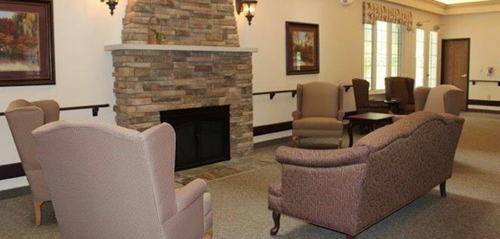 fireplace at crystal creek assisted living