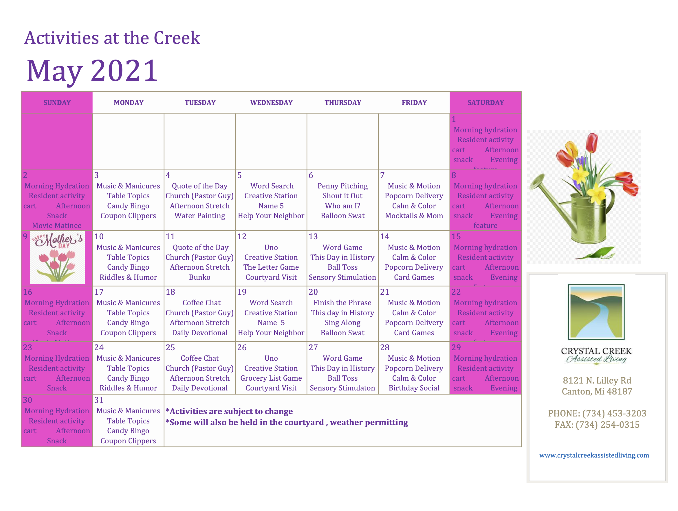 Crystal Creek Assisted Living And Memory Care May 2021 Calendar