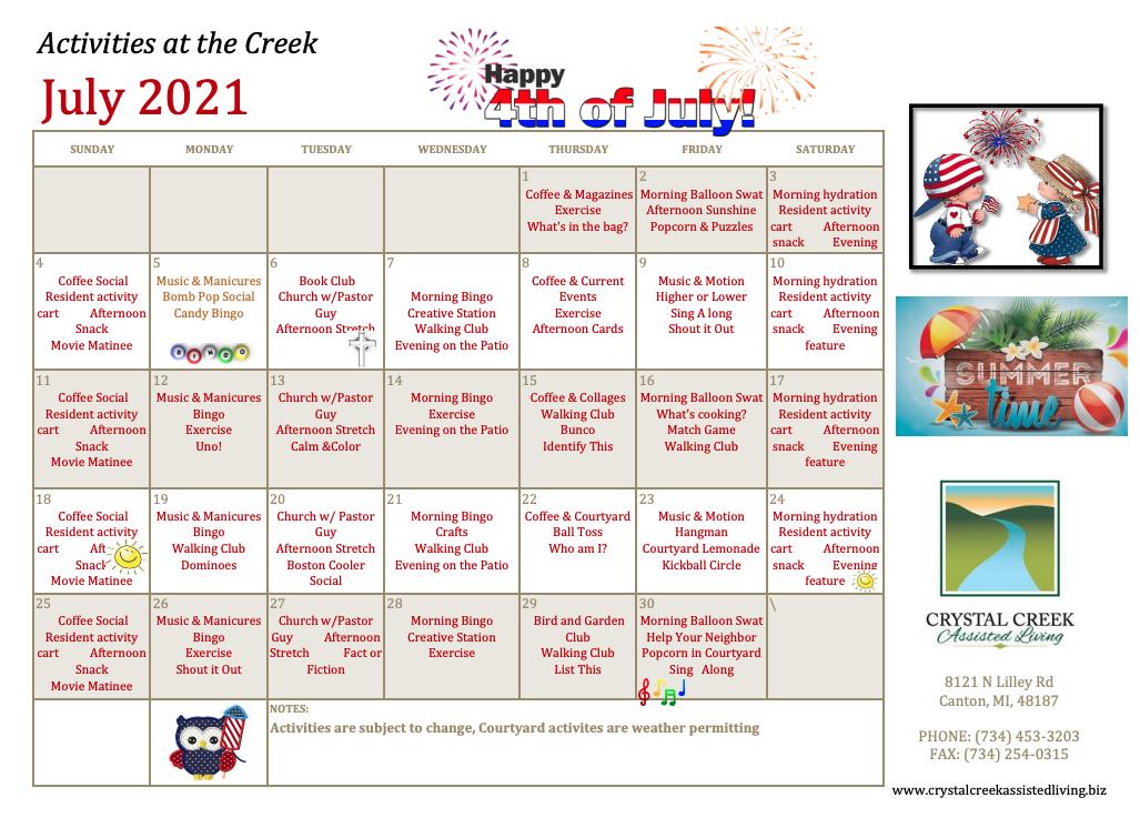 Crystal Creek Assisted Living July 2021 Calendar