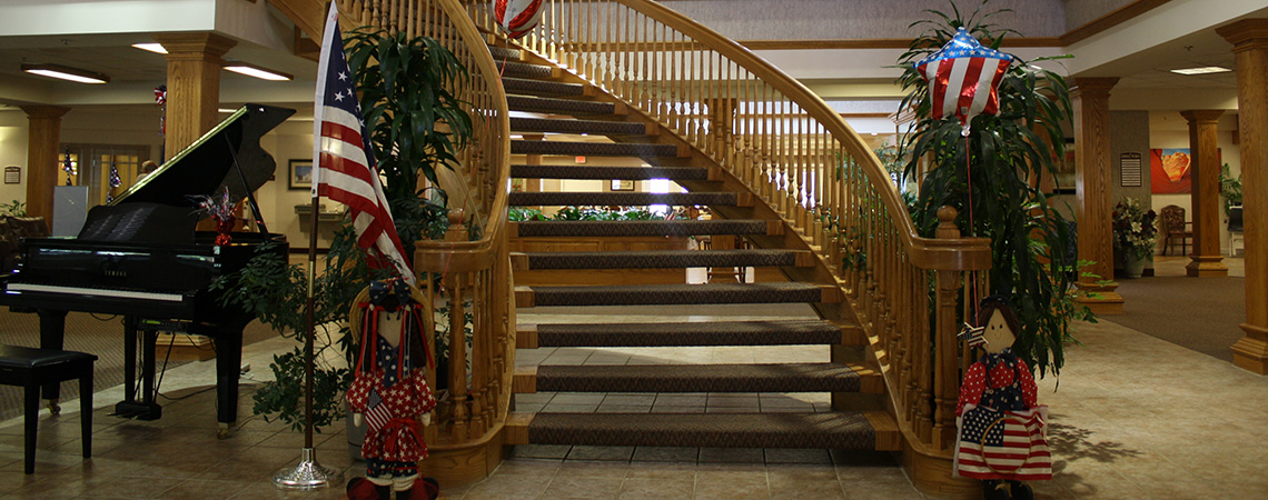 Sterling Court staircase decorated for the 4th of July