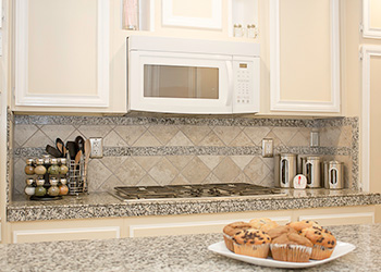 high end granite kitchen in resident's room