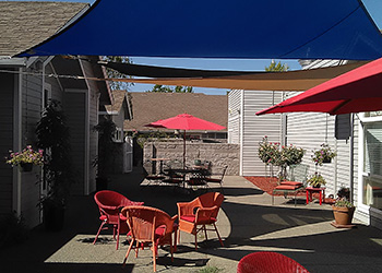 outdoor shaded patio area
