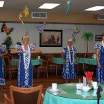 professional hula dancers wearing matching dresses and necklaces performing traditional dance
