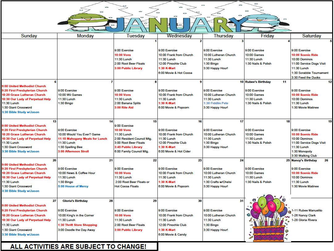 Sterling Heights January calendar