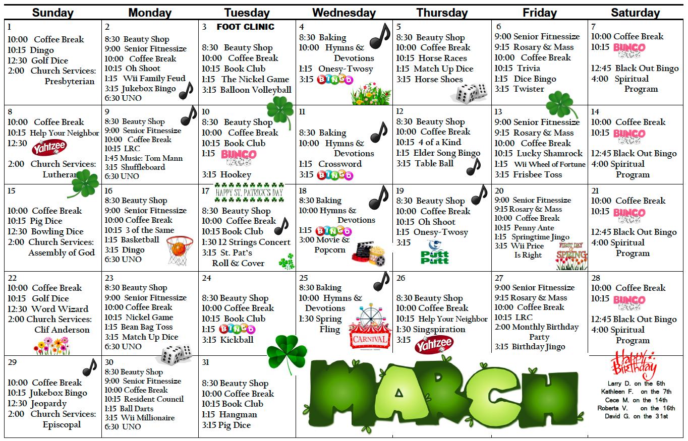 Pembilier March calendar